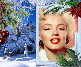 Christmas card with your photo on a white rectangular frame.