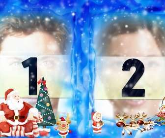 put two of ur photos on christmas frame with santa claus
