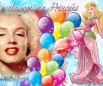 Photo montage to create a postcard to congratulate the birthday of the princess of the house.