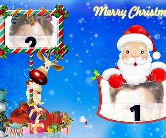 the emblematic rudolf and santa claus have two picture frames included in this post christmas greeting blue folding also appears goodie bag from santa claus and christmas themes and holidays