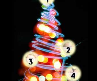 photomontage christmas tree where u can put 4 pictures on the lighted balls