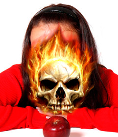 Photomontage of a skull on fire to put in your photo.