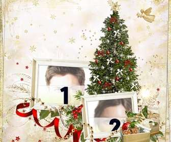 photomontage of christmas for two photos and send as christmas card