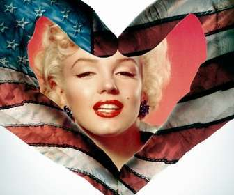 Heart-shaped frame with the flag of the United States as background.