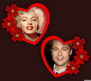 photomontage of love with two frames of hearts and flowers for two photos