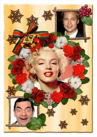 christmas collage with flowers to personalize with three photos