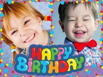 Colorful and cheerful Happy Birthday collage to edit with two photos