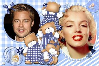children collage for customization with 4 bears and two pictures of u