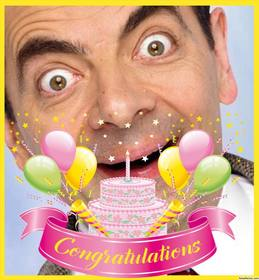 Decorative and festive photo frame with a huge cake and CONGRATULATIONS text