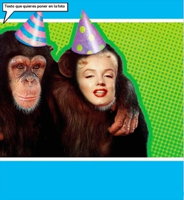 Photomontage with a monkey dressed with party hat.