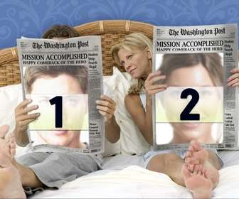 photo effect u can put two photos on the front pages of two newspapers