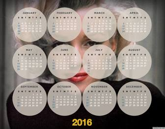 Original 2016 calendar to put your photo on the background