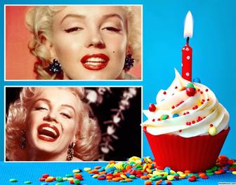 collage for two photos with birthday cupcake