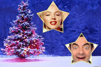 christmas collage with tree to put two photos