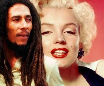Create a photomontage with Bob Marley by your side loading an image online and adding a phrase free.