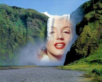 Photomontage with a waterfall in the middle of a green mountain to put a picture online for free.