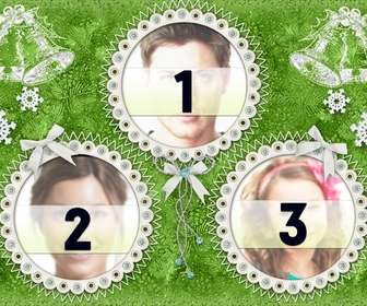 christmas photo frame for 3 photos of green color