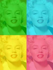 Pop Art box personalized with your photo, green, blue, yellow and pink. Upload a photo, cut it out and then apply this filter using this page as a photo editor for free.