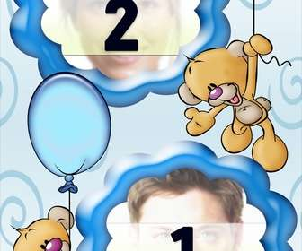photo frame for two photos of teddy bears with balloons