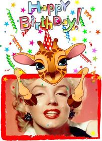 Customizable greeting card with a giraffe birthday.
