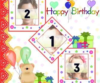 Postcard / birthday card for 3 photos with balloons and teddy bear gifts.