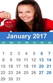 2017 January calendar who you can customize with your own photo.
