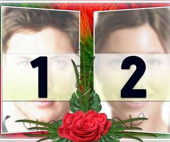 "Elegant photo montage with two photographs in a frame of green and red floral motifs. With roses in between. Ideal for a couple in love. As a reminder of important dates and Valentine""s Day."