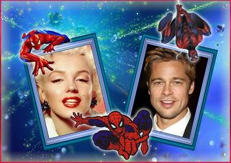 photo frame for two photos with spiderman and her cobweb