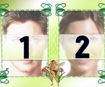 Photo frame with two photos, fairy ornament and green background.