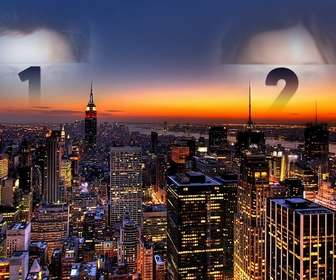 In this collage Your photo appears twice, cast in the sky over New York. Spectacular image of a sunset with the lights of the skyscrapers lit.