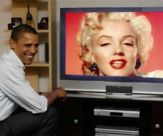 Photomontage of Obama watching TV, where will your photograph be placed.
