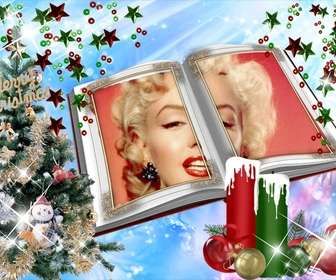 Christmas card with a montage in book form with embellishments.