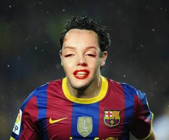 Photomontage of football to put your face in a Barca player