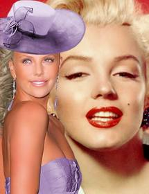 Create photomontages with Charlize Theron gala dressed in a gown purple and a matching hat beside you.