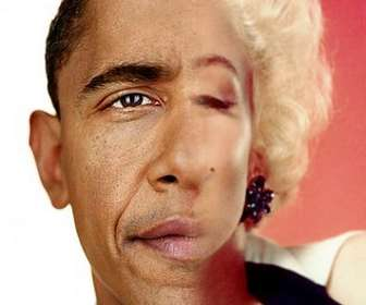 Create a photomontage with the face of President Obama mixed with half your face.