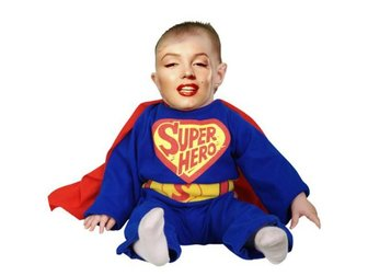 Dress up your baby with this tender photomontage of blue Superhero with red cape.