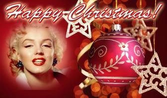 Post to congratulate Christmas with HAPPY CHRISTMAS text and red background with a Christmas ball. Put your photo at background.