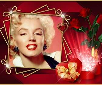 Photo frame with elegant red background with roses and diamonds. To put your photo.