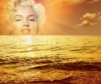 Photomontage with a sunset marina, where a cut face or image appears in the center of the sun, bathing in a golden glow a slight sea swell.