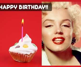 Create a birthday card with the photo you want with a red background and a cupcake with a candle on one side.