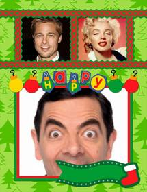 christmas photomontage for 3 photos with text and firs