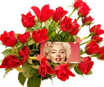 Photo effect to add a photo in the middle of a bouquet of roses.