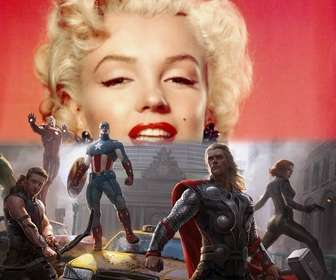 Photomontage of the first Avengers defending the city with your photo above.