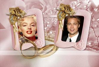 Photo frame for two photos with yellow roses, wedding rings and jewelry.