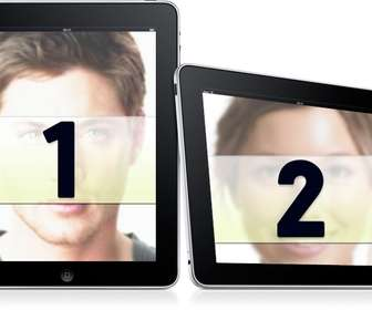 Get into two frames simple. Upload two photos for this montage in which images appear on two digital picture frames on a white background.