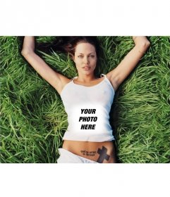 With this photo effect you go forth in the shirt of the sexy Angelina Jolie