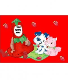 Photo strawberry costume effect customizable with the photo you want!. Ideal for children.