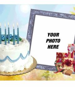 Photo frame with birthday cake and gifts.