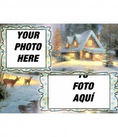 Christmas card charging where you can put two pictures, snowy village background and