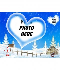 Postcard with blue background and snowy landscape we welcomed winter break, with a heart-shaped frame in which to insert your photo